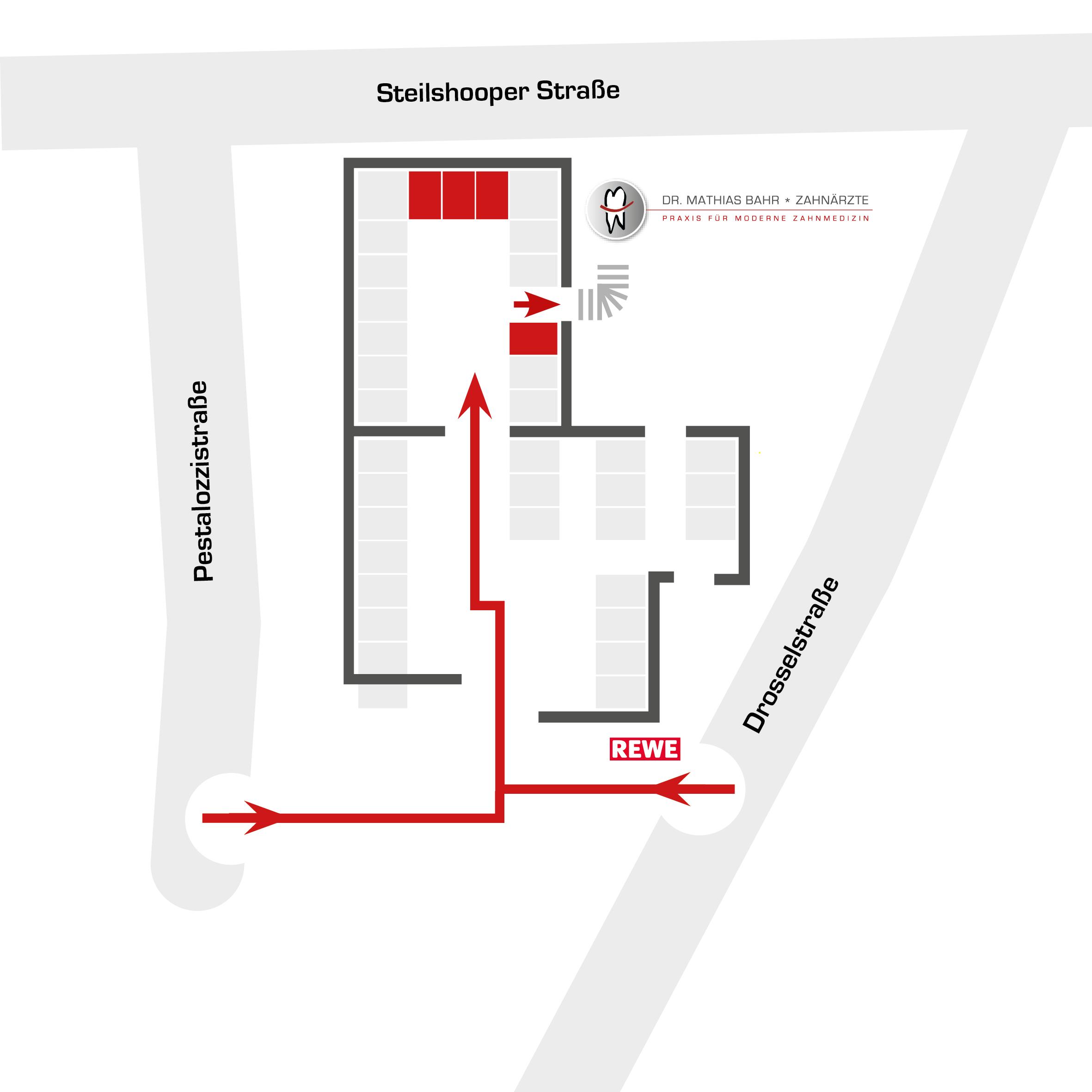 Parkplaetze der Zahnarztpraxis Dr. Mathias Bahr in Hamburg-Barmbek.